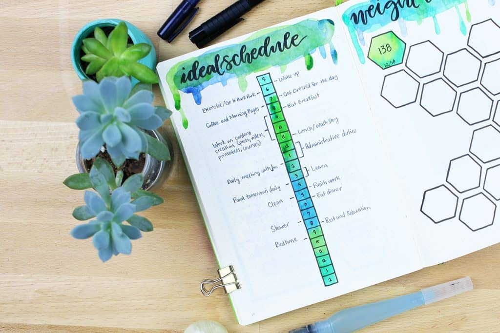 Bullet Journal ideal schedule