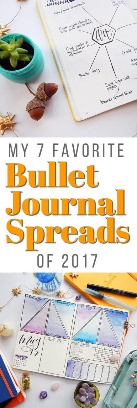 2017 has been an excellent year for the bullet journal and I've had a blast creating all kinds of bullet journal spreads. Throughout the year, these seven bullet journal spreads have been my absolute favorites!