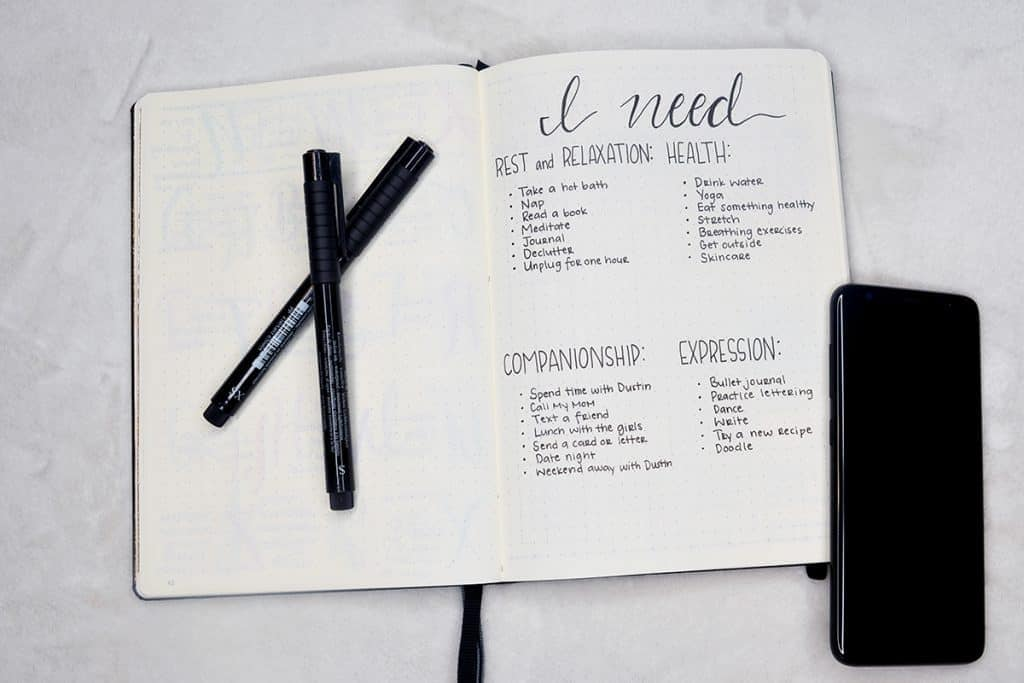 bullet journal self care