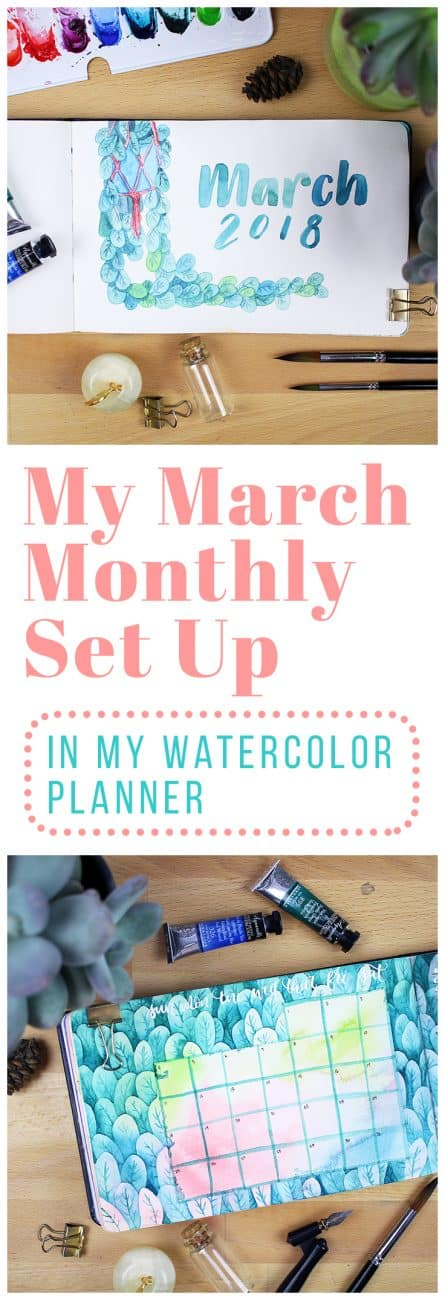 My March monthly set up is one of my most inspired spreads to date! I had a blast bringing spring into my life through watercolors, and I'm excited to share the process with you.