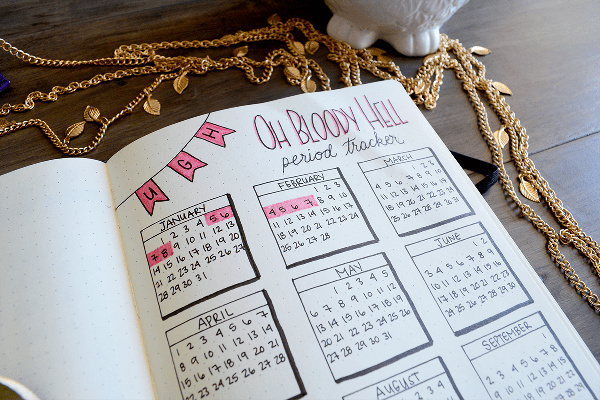 Bullet Journal period log for tracking menstrual cycle