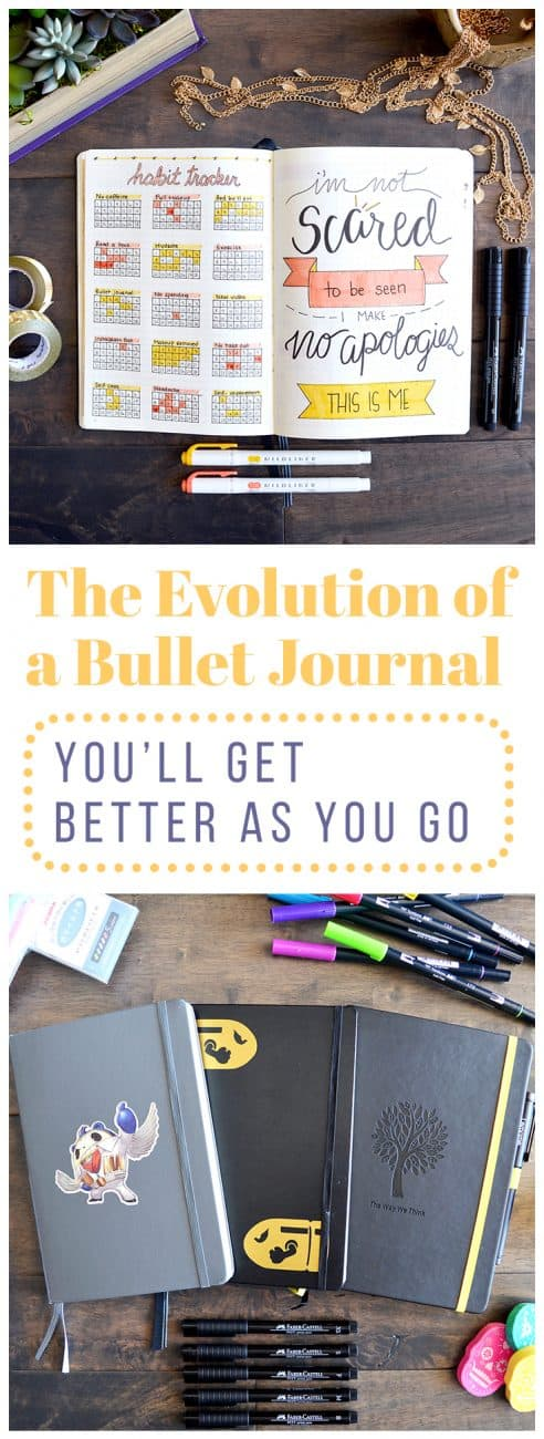 When you first begin your bullet journal, you might be frustrated or disappointed that it isn't super effective or beautiful yet. I totally get it, I've been there! Let me walk you through the evolution of a bullet journal from the beginning of my journey. Trust me, it gets better.