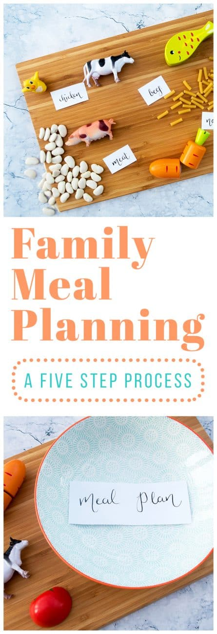 When your family is super busy, it can be easy to let dinner fall by the wayside and become a source of chaos in your life. But with this five-step process, you can become a family meal planning master!