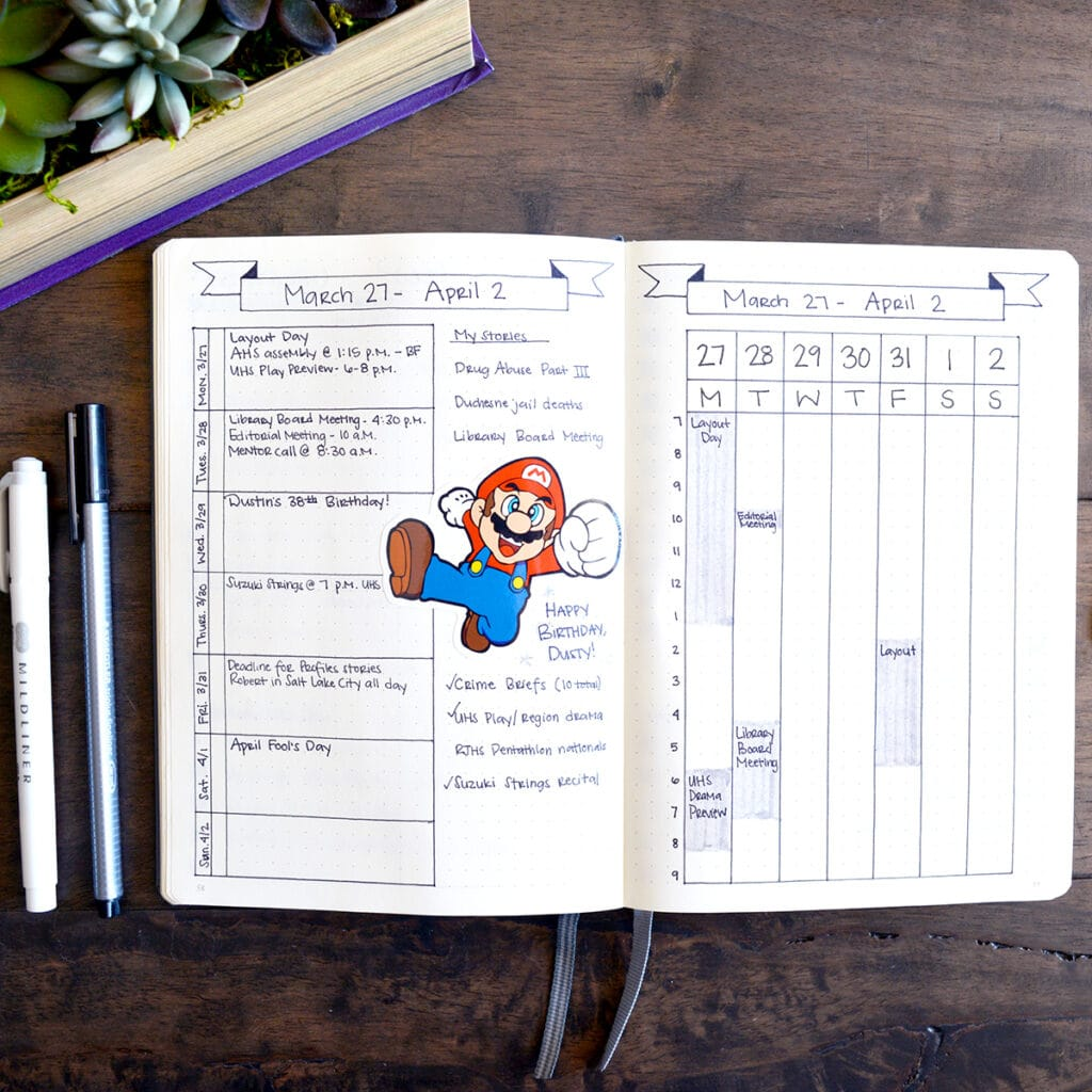 A Mario themed bullet journal spread