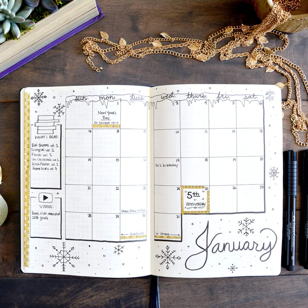 January snowflake bullet journal spread
