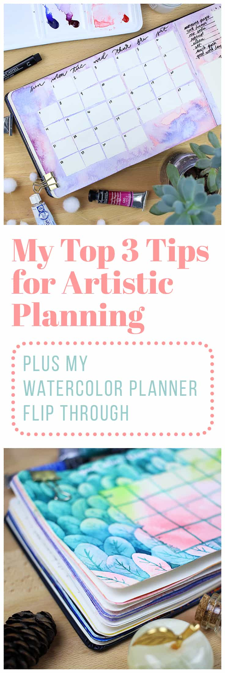 After five months of using my watercolor planner, I finally finished the whole journal! Check out my watercolor planner flip through and see the top three tips for artistic planning that I learned along the way.