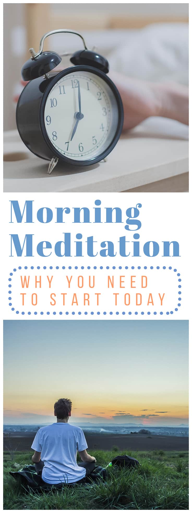 Starting a morning meditation practice can be a huge benefit!  Here are some of the ways it helped me: - It sets a tone of calm for the entire day. - It gives me more energy.  - It builds focus.  - It gives me an overall sense of well-being.  Click the image to see how to start meditating today! #meditation #morningmeditation #meditationbenefits #increaseproductivity #morningroutine #startmeditating #meditationroutine