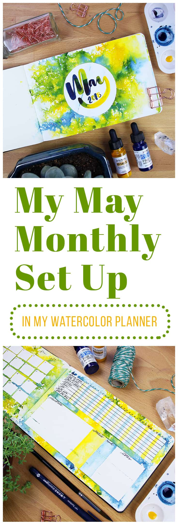 At last, it's May! I try out a new watercolor technique in my May monthly set up and try to bring the vibrant joy of early summer into the design. This technique is so easy that anyone can do it!