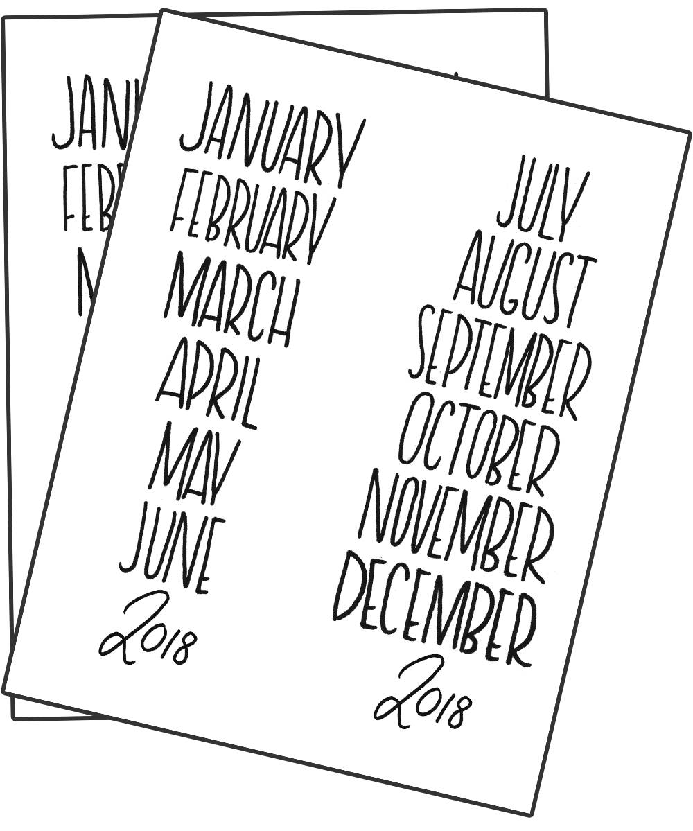 bullet journal monthly header printable