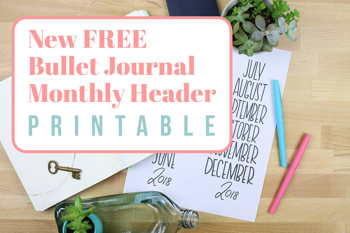bullet journal monthly header printable