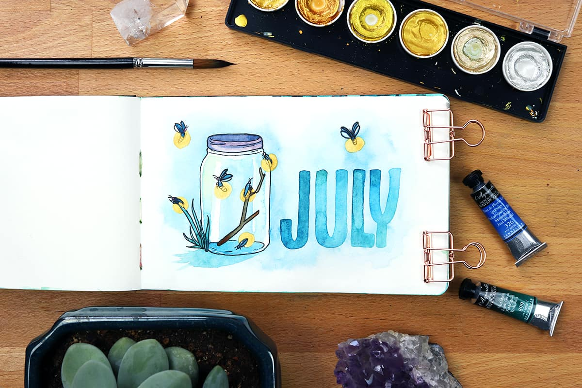 A July cover page done in watercolors showing fireflies in a glass jar.