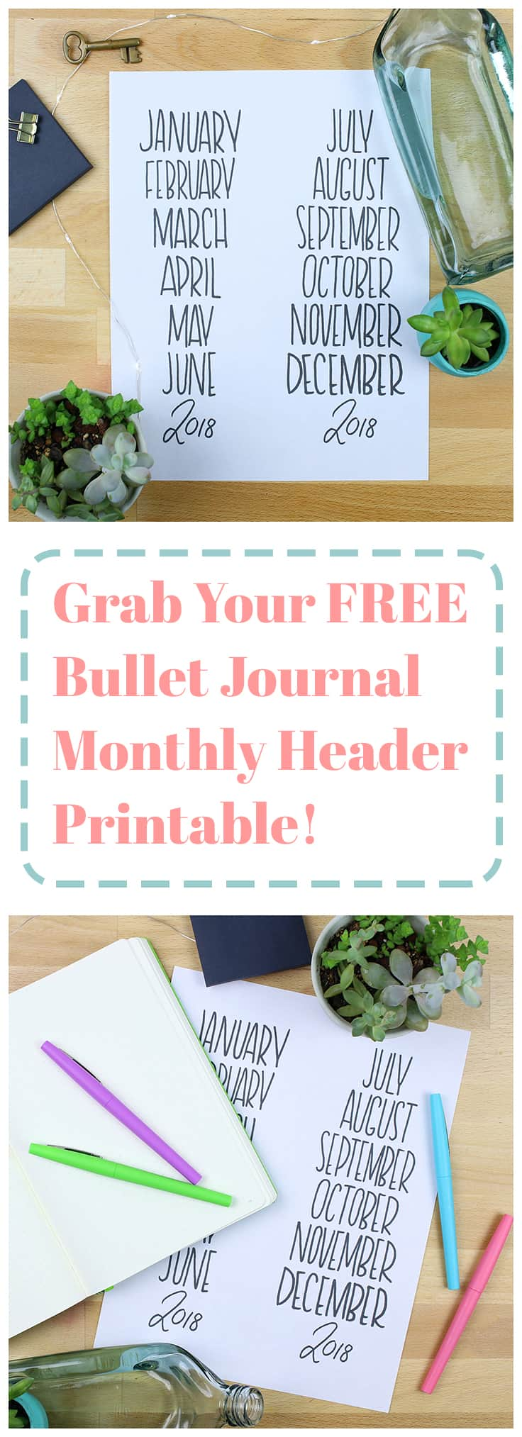 Want to grab a super cute new bullet journal monthly header printable? Look no further! This printable can be used a ton of different ways depending on your needs, and you can use it forever!