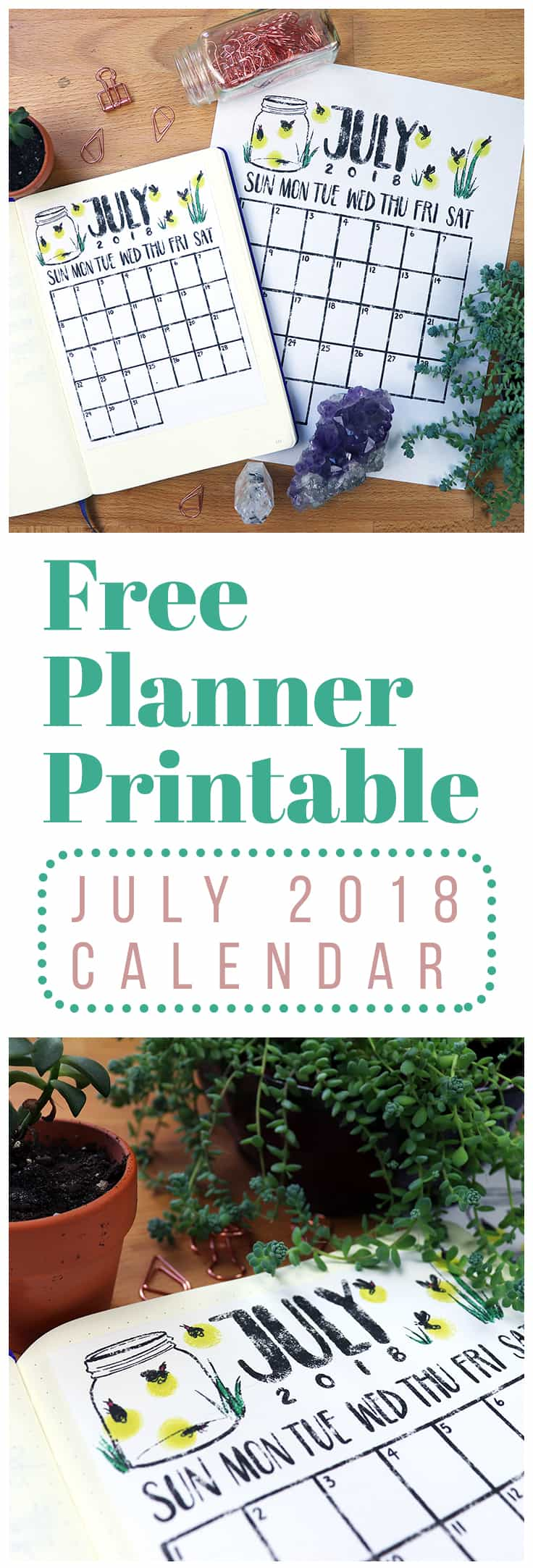 Ready to get your planning on? Download this cute and FREE July 2018 calendar printable and kick your planner into overdrive! This monthly printable comes in four different versions so you can find something that fits your needs perfectly. So whether you've got a bullet journal, binder, traveler's notebook, or something totally different, this July 2018 calendar printable is for you!
