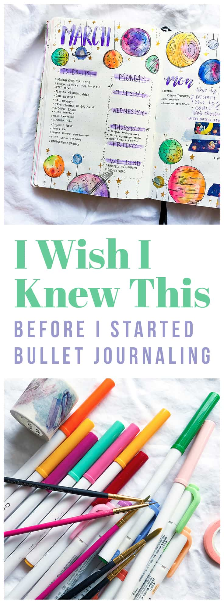There are several things that I wish I knew before I started Bullet Journaling, but the biggest piece of advice I have is to not give up! Mistakes are a part of bullet journaling, and It doesn't have to look like something you saw on Instagram. Bullet Journaling is not about being productive all the time, but rather giving you the freedom to do the things you want!  #bulletjournal #bulletjournaltips #planning #productivity #startabulletjournal
