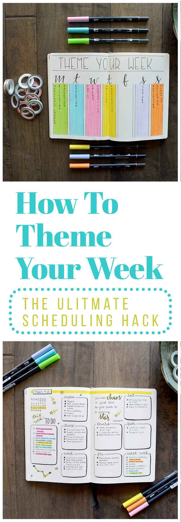 Theming your week is easy.  1.	Choose your themes: You know better than anyone else which time and attention. 2.	Assign your themes to days of the week 3.	Add your themes to your schedule: I chose to do this by creating one color-coded key page with all of my themes written out. 4.	Reevaluate as needed: You may find as you go that you've chosen a theme for which you actually don't have all that much to do.  Just click the image to learn more.