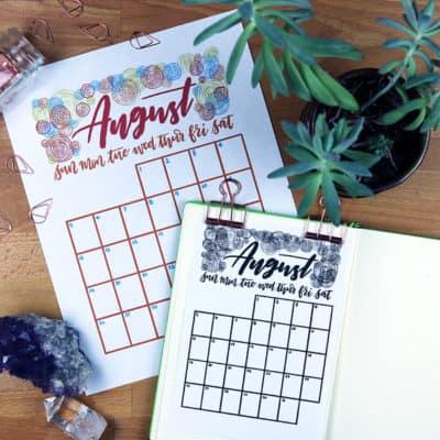 FREE August 2018 Calendar Printable