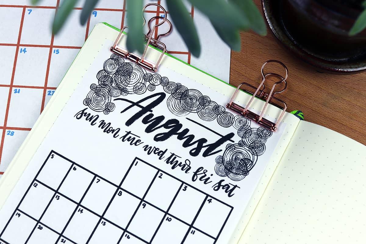 August 2018 calendar printable