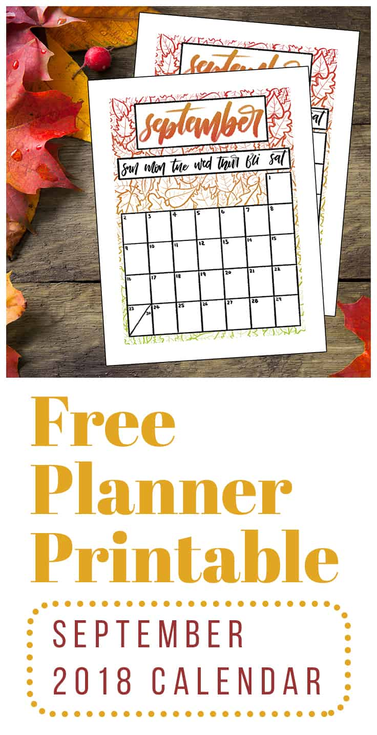 Ready for September? Grab my free September 2018 calendar printable for your bullet journal and you will be! This fun and simple printable is available in several sizes and you can even get a black and white option. So hop over and download your free printable today to add an exciting dash of autumn spunk to your planner! #printable #bulletjournal #backtoschool #calendarprintable