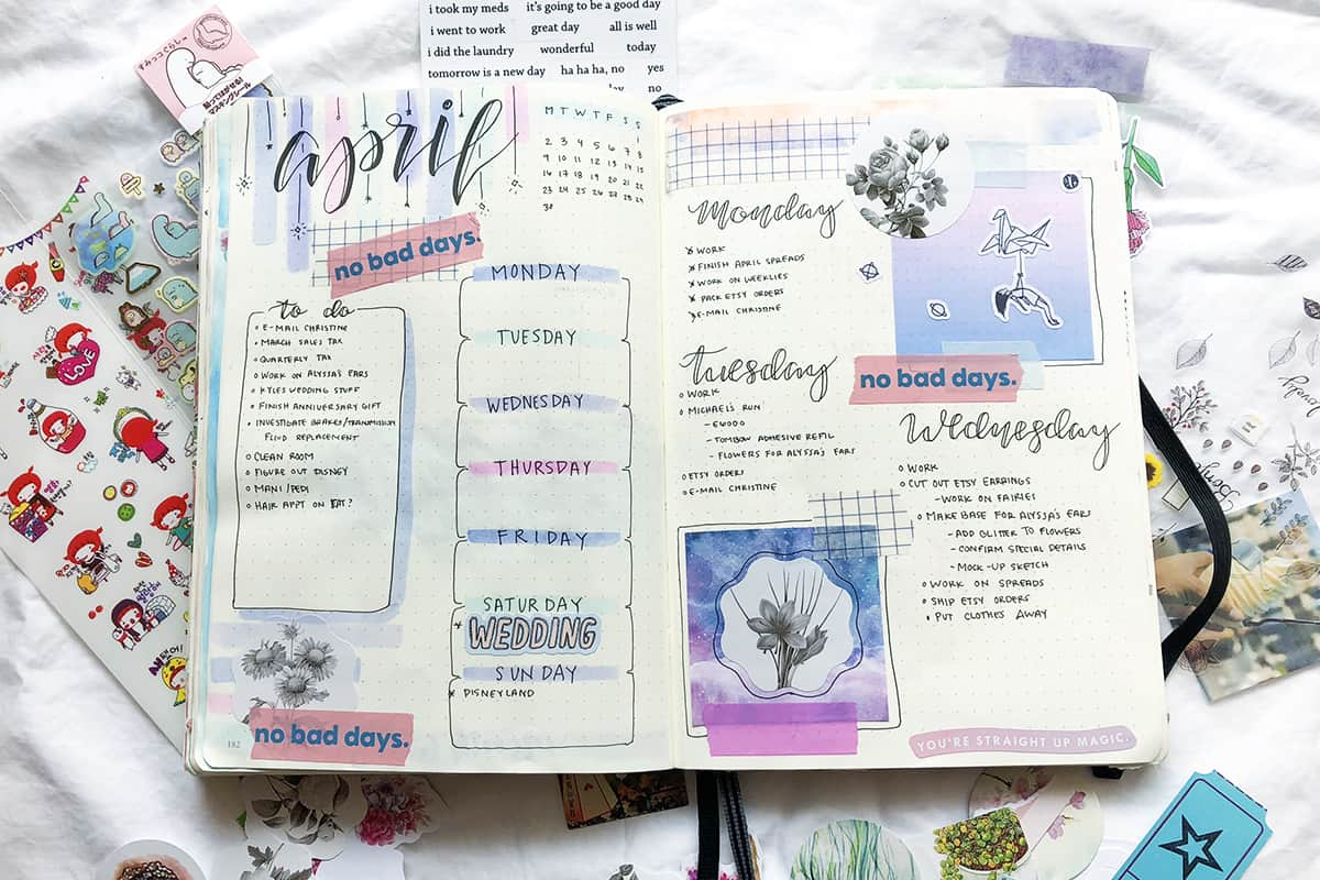 Beautiful Bullet Journal Monthly Spread
