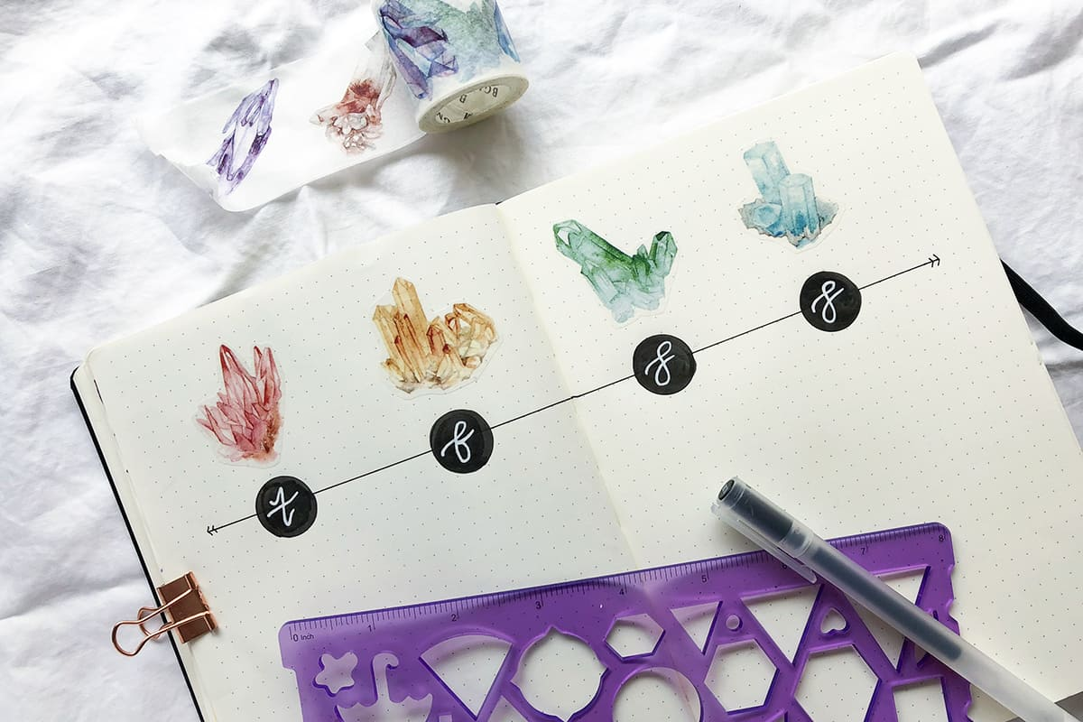 Beautiful Bullet Journal Using Crystals Washi Tape