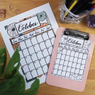 Free October 2018 Calendar Printable for your Bullet Journal