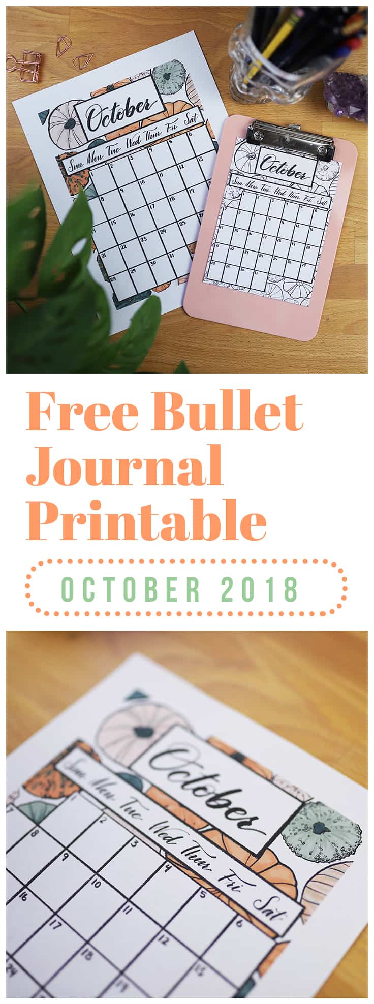 Are you ready for October? I am so pumped for my favorite month of the year, and this October 2018 calendar printable reflects my excitement! You can get this printable in four different formats so you can ensure that it fits your planner system seamlessly. And it's totally free! #printable #calendar #freebie #october2018 #october