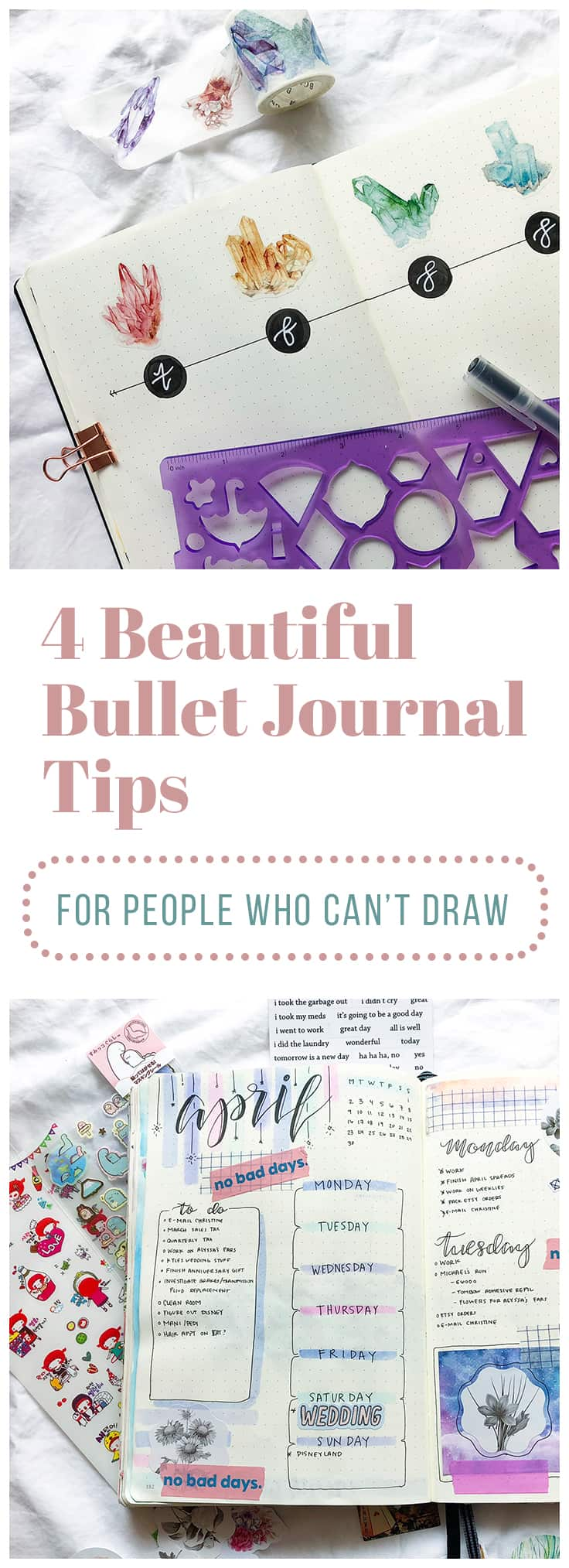Some come by artistic talent naturally, and some of us struggle drawing stick figures. It's a fact of life, but it shouldn't prevent you from having a beautiful bullet journal! Luckily, there are plenty of bullet journal hacks out there that can help. Here are a few of my favorite ways to liven up my spreads that don't require any sort of artistic talent!  #bulletjournal #bulletjournaltips #bulletjournalhacks #planner #minimalist #washitape