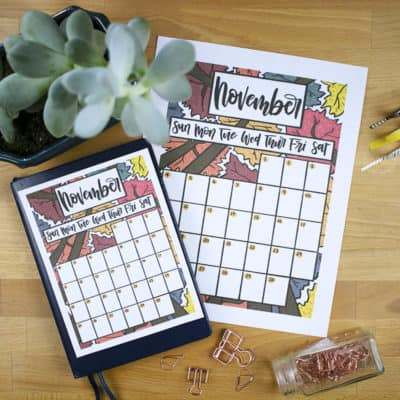 Free November 2018 Calendar Printable for Your Bullet Journal