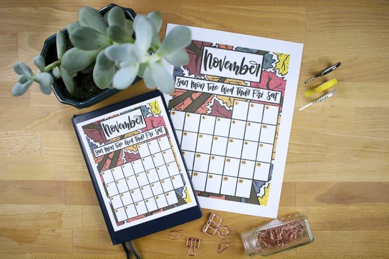 Free November 2018 Calendar Printable for Your Bullet Journal