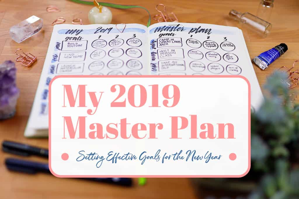 "Photo of Master Plan setup open on table with graphic overlay saying, ""My 2019 Master Plan -- Setting Effective Goals for the New Year""."
