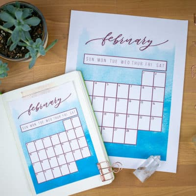 Free February 2019 Calendar Printable for Your Bullet Journal