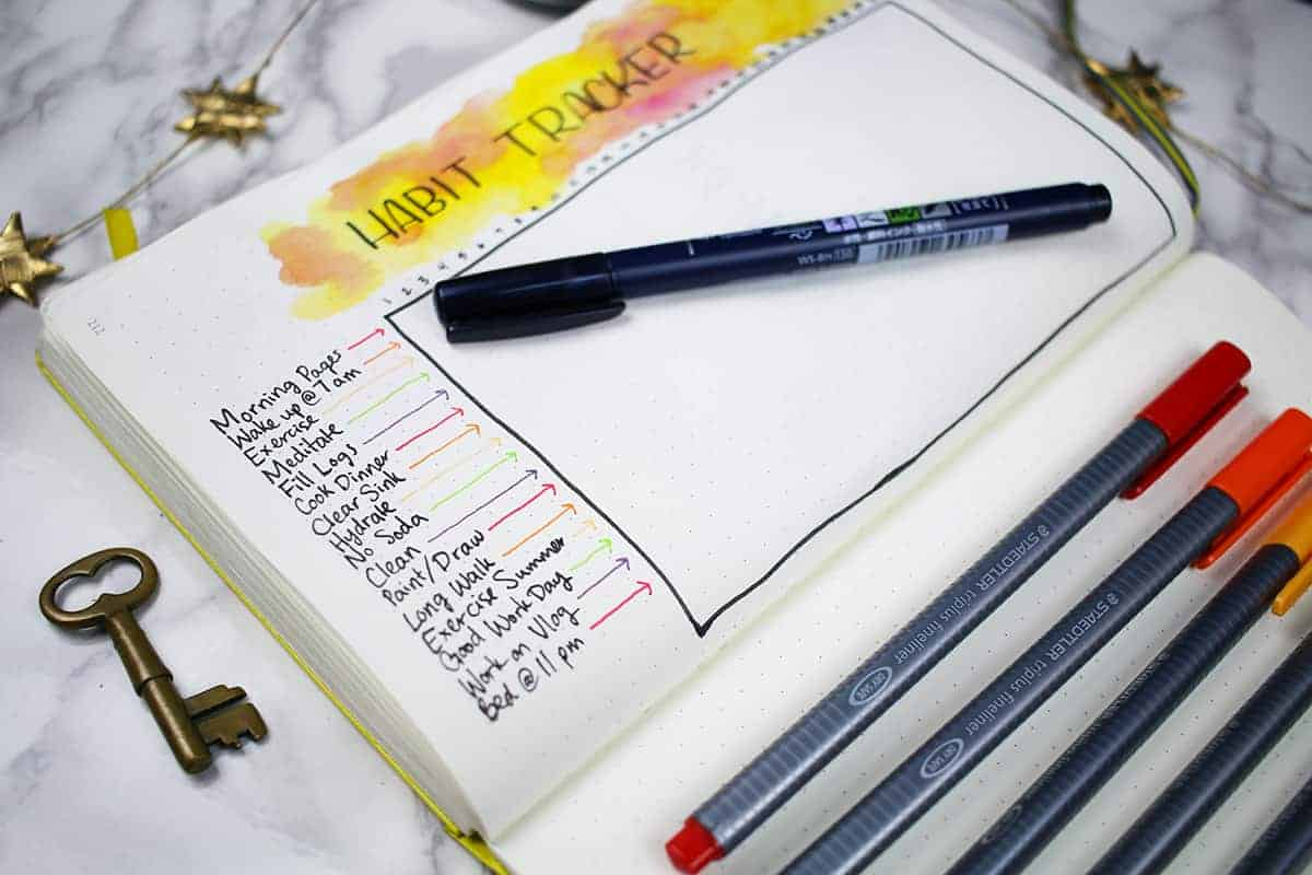 Open journal with habit tracker drawn inside and pens laying nearby.