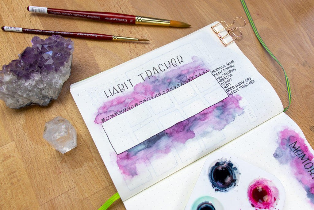 Open journal with habit tracker embellished with watercolor.
