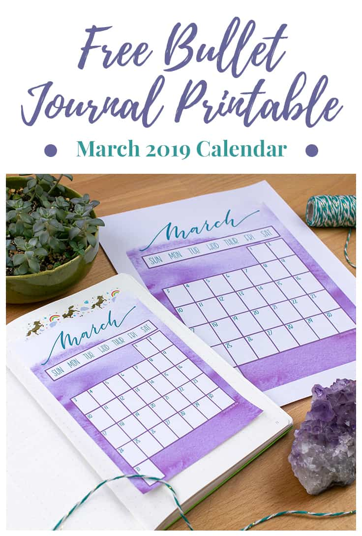 March will be here soon... are you ready for it? Prepare yourself for the oncoming spring with this gorgeous (and FREE) March 2019 calendar printable! Add beautiful watercolor textures to your planning with zero effort. Whether you have a bullet journal, digital planner, or something else entirely, this printable has you covered with three different options for you to download. #March2019 #bulletjournalprintable #bulletjournal #watercolorprintable