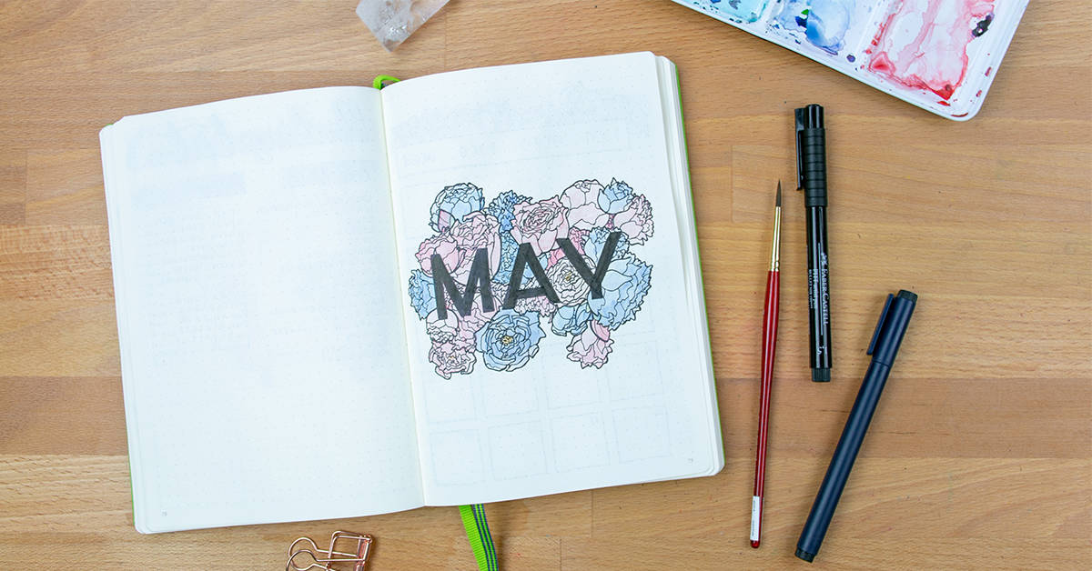 A May cover pages with watercolor flowers