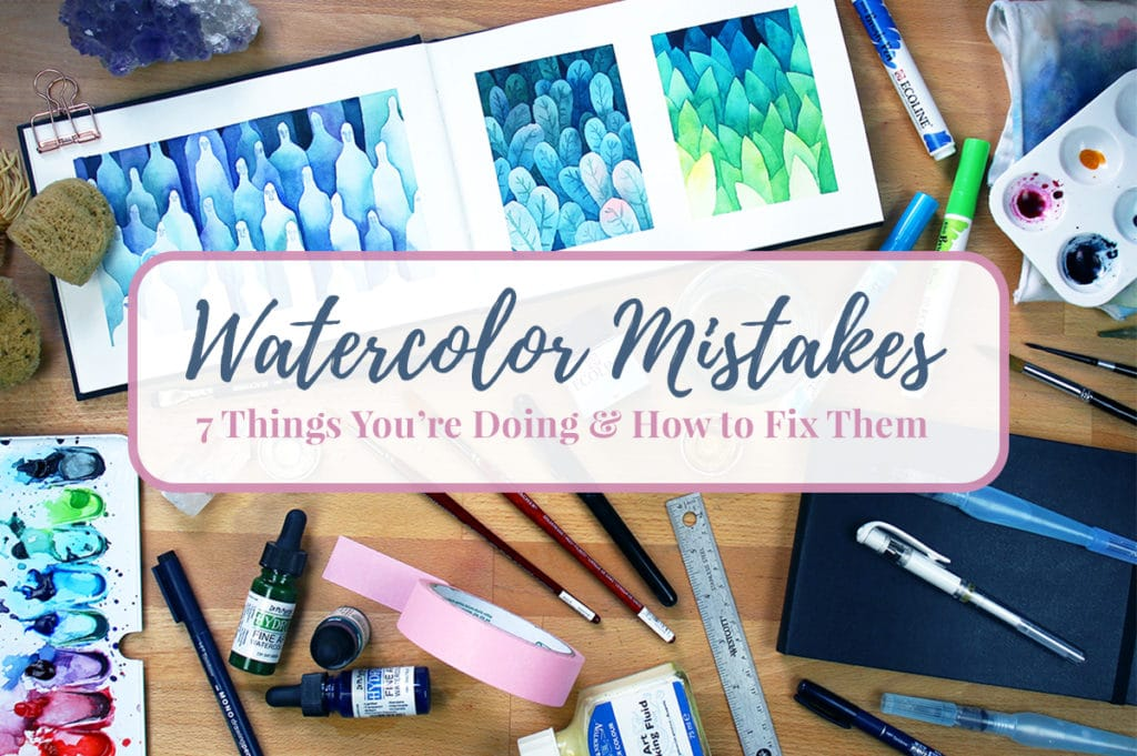 Image of watercolor supplies and painting laid out on table with title graphic overlay.