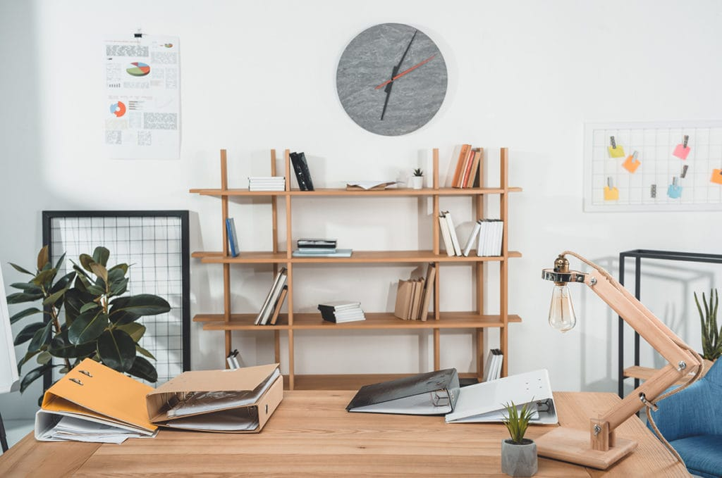 Scandinavian style minimalist office.