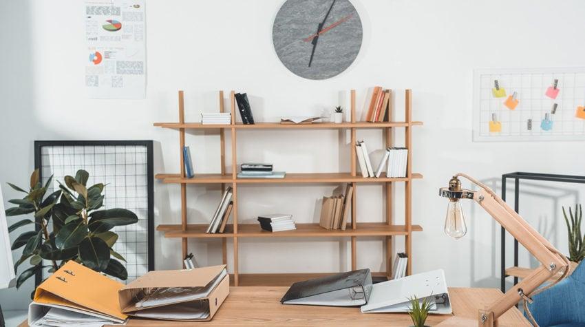 Scandinavian style minimalist office.