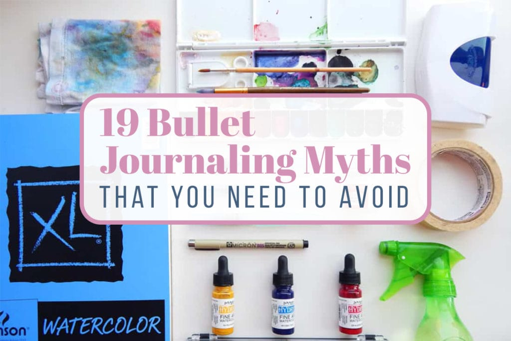Bullet journal myths cover photo - Title over a flat lay image of bullet journal supplies