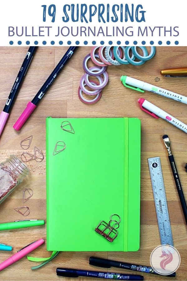 Bullet journaling myths cover photo & pins