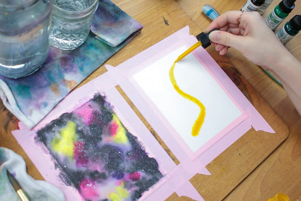 Add the lightest pigment to the paper