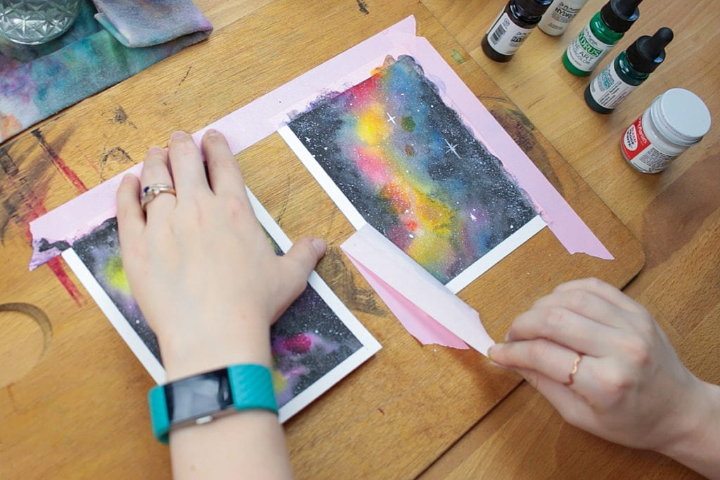 Remove the masking tape and enjoy your watercolor galaxy