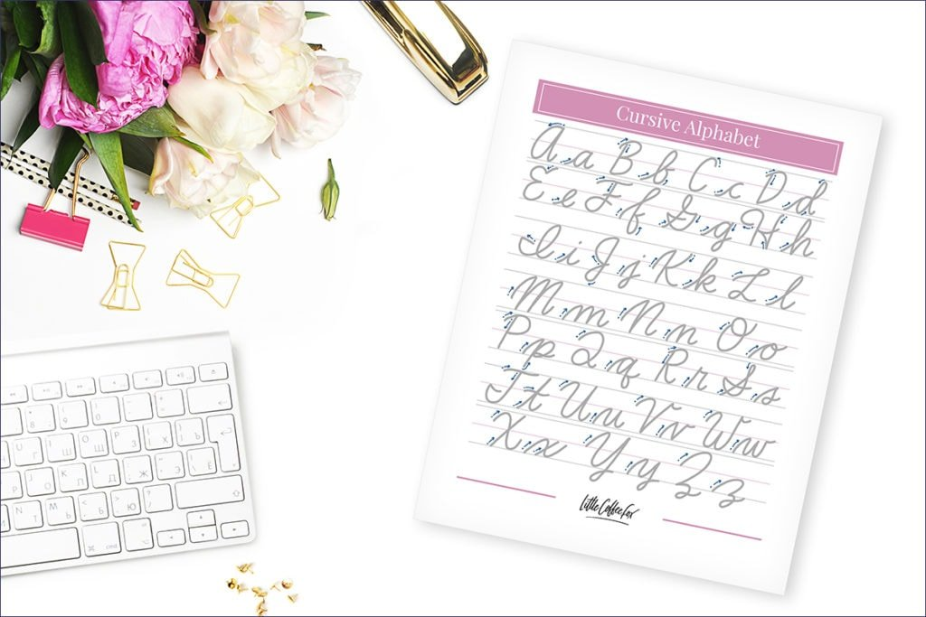 Cursive alphabet practice sheet sitting on desk with flowers.