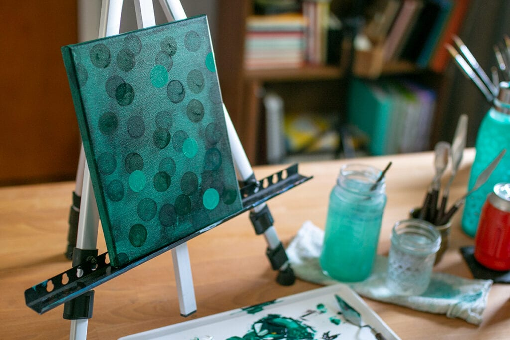 Abstract Acrylic Painting Tutorial Step Seven build layers with circles