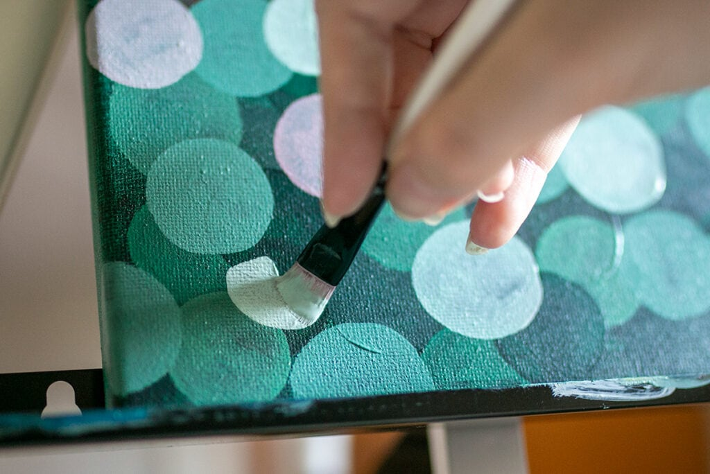 Abstract Acrylic Painting Tutorial Step Eight adding the lightest circles