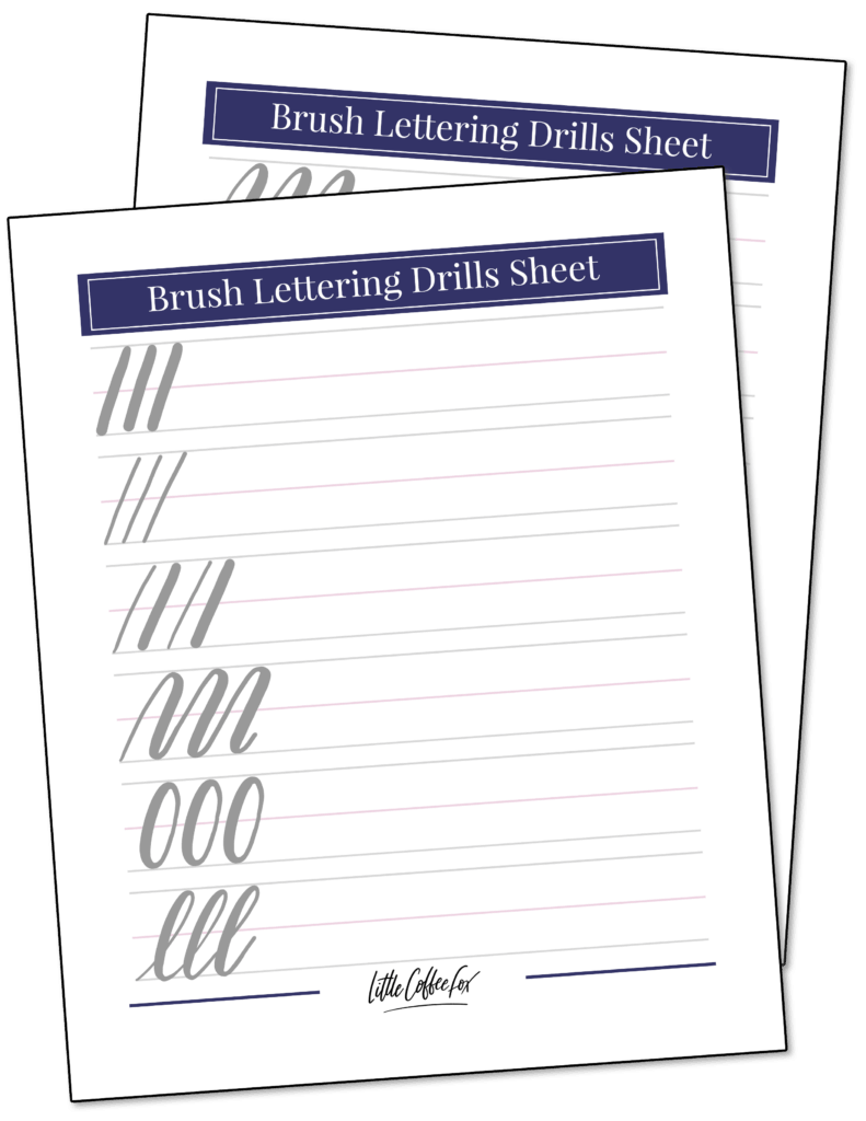 Brush lettering drill sheets, with different styles of brush strokes demonstrated in practice lines.