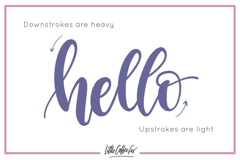 Brush lettering tips showing the upstrokes and downstrokes.