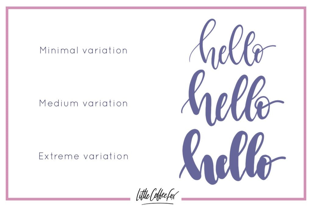 Brush lettering tips demonstration of different weight variations