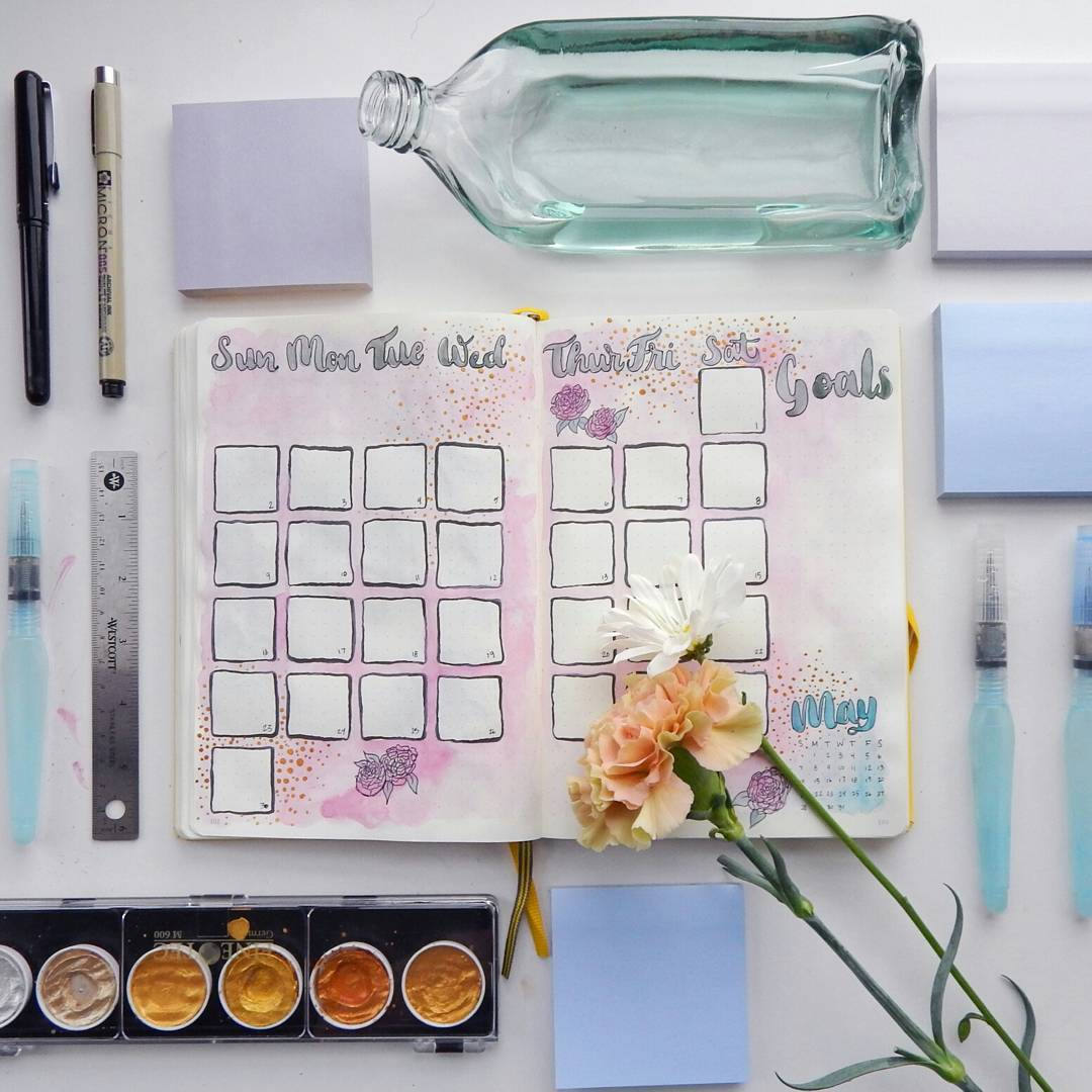 A pink April spread showing roses.