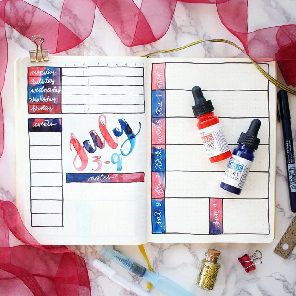 A patriotic bullet journal spread